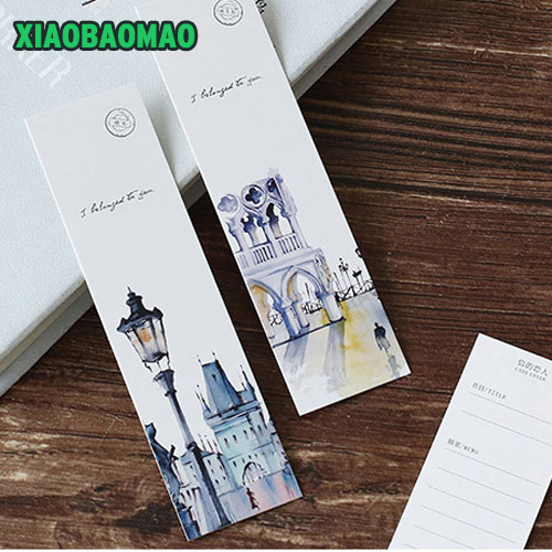 30 Pcs / Box Vintage City Landscape Watercolor Hand Painted Style Paper Bookmark Stationery Book Holder Message Card XLG499