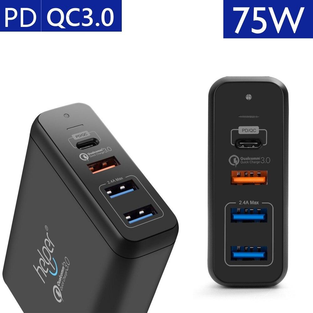 USB Tipo-C PD Caricatore 75 w 4-Porte USB-C PD Carica Rapida 3.0 Smart Caricabatteria Da Tavolo con erogazione di potenza per XiaoMi Air DELL XPS
