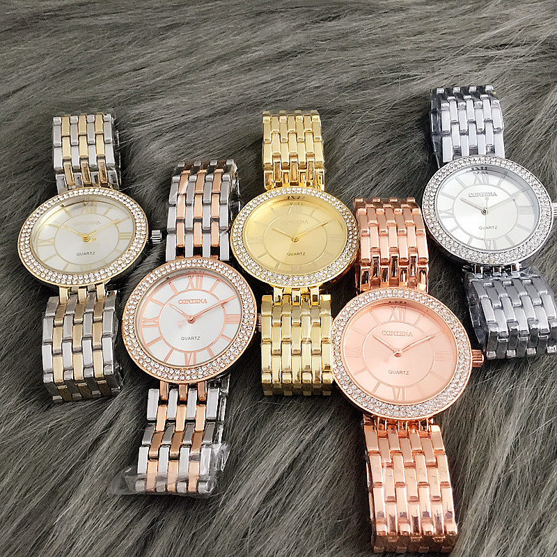 Rose Gold Rhinestone Watch Women Stainless Steel Dress Rosefield Watch For Ladies Business Fashion Clock Relojes Mujer 2018