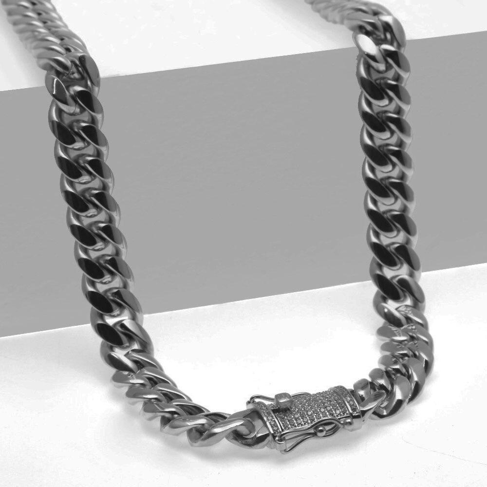 Chaîne cubaine en acier inoxydable avec Bling CZ cubique zircone fermoir fermoir de luxe collier 12/14mm Hip hop bijoux pour hommes - 5
