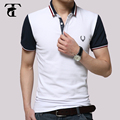 Original Curto-Luva 2016 Estilo Inglaterra Masculino Turn-Down Gola Polo Camisa Slim 100% Algodão Polos Hombre Marca Manga Corta