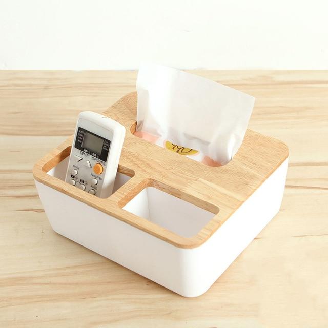 Onnpnnq Wooden Tissue Box Desk Storage Tool Pen Remote Organizer Napkin Case Towel Holder Wood