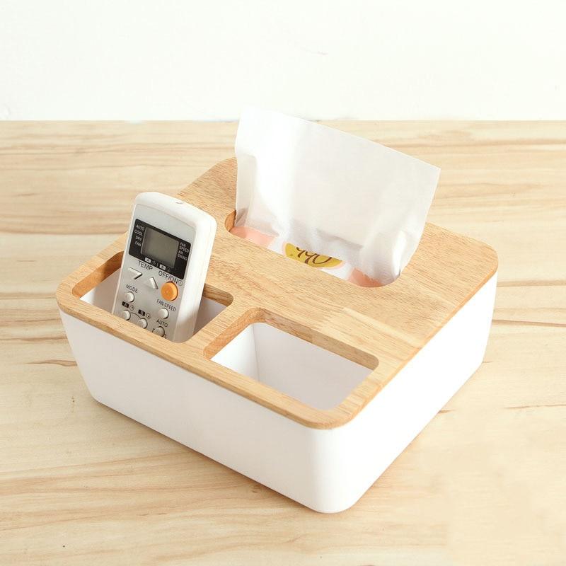 OnnPnnQ Wooden Tissue Box Desk Storage Tool Pen Remote Organizer Napkin Case Towel Holder Wood+Plastic