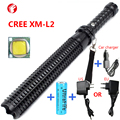 Powerful led flashlight 18650 CREE XM L2 Telescopic baton self defense police 1101 Patrol LED rechargeable flash light