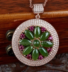 Beautiful 925 Silve Natural Green HeTian Jade Jasper Beads Inlay Flower Design Round Lucky Pendant + Free Necklace Fine Jewelry