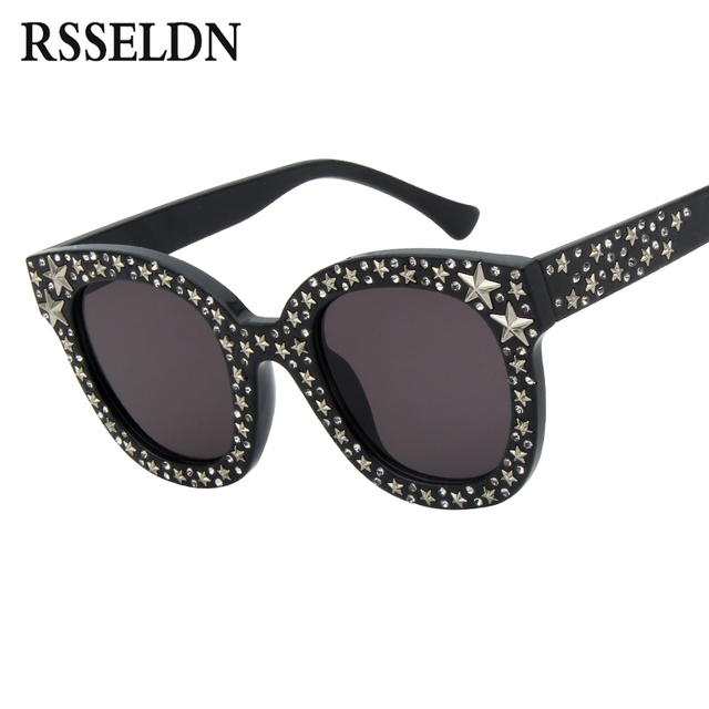 1dfca122306 RSSELDN 2018 Luxury Brand Sunglasses Women Crystal Cat Eye Sunglasses  Mirror Retro Gradient Sun Glasses Female Black Grey Shades