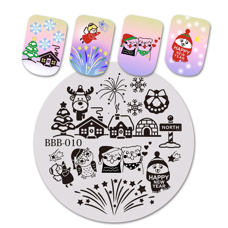 Nail Art Beautybigbang Round Nail Stamping Plates Christmas Snowflake Firework Image Plate For Nail Art Template Stencil For Nail Bbb-010 Elegant In Smell