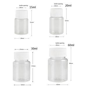 Image 1 - Многоразовые прозрачные пластиковые флаконы для герметизации домашних животных, 100 шт., 15 мл/20 мл/30 мл/60 мл, реагент, контейнер для хранения, пластиковая винтовая крышка