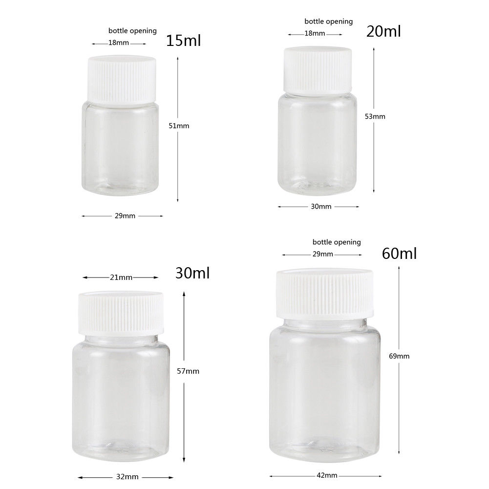 100Pcs 15ml/20ml/30ml/60ml Transparent Plastic PET Refillable Seal Bottles Vials Reagent Store Container Plastic Screw Cap