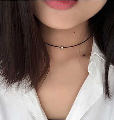 간단한 패션 초커 목걸이 얇은 블랙 가죽 로프 목걸이 골드 실버 컬러 금속 비즈 짧은 목걸이 여성