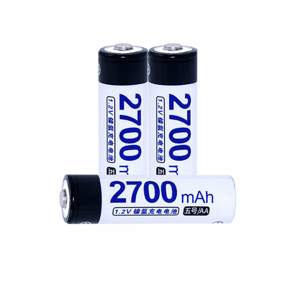 3 pcs AA portable 1.2V NIMH AA rechargeable batteries 2700mah for camera razor toy remote control flashlight 2A batterie