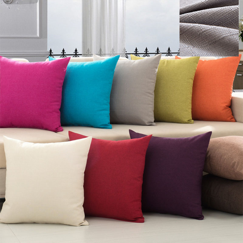 Solid Color Simple Pillow Covering Linen Cushion Cover