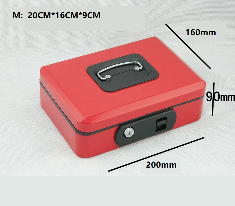 Red 20cm*16cm*9cm Key Open Style Metal Safes Elastic Button Mobile Phone Jewelry Savings Mini-safe Storage Receiving Box