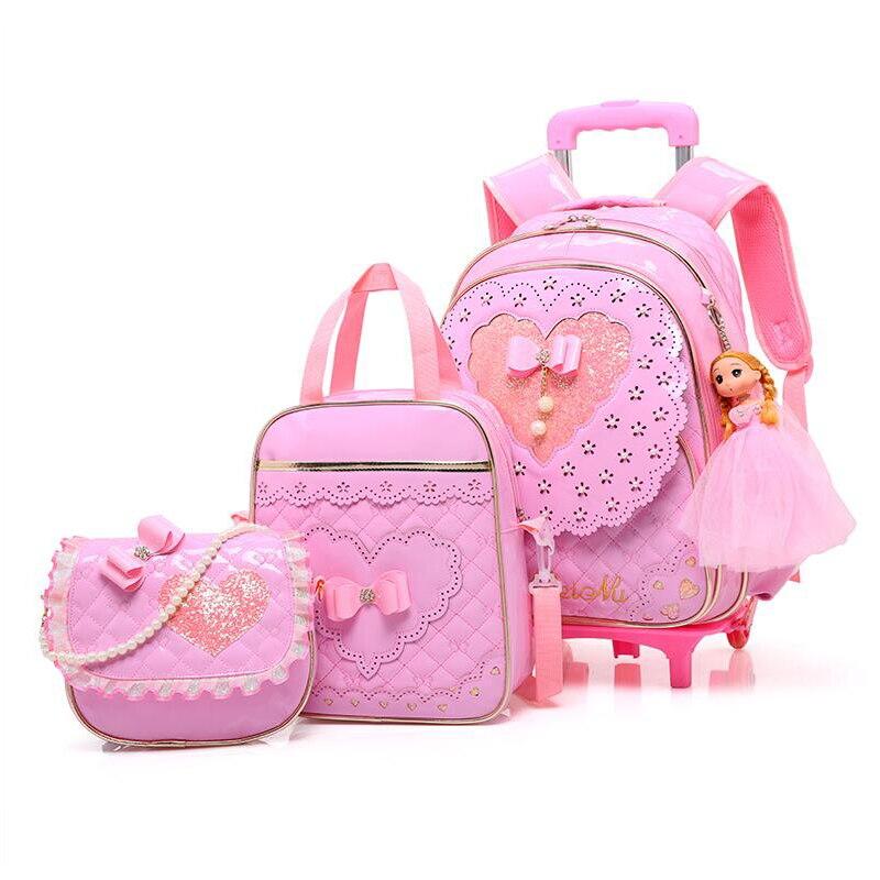 5PCS Sets Children Three Wheel Trolley School Bag Girl Princess Backpack Waterproof PU Kid Orthopedic School Bags For Teenager