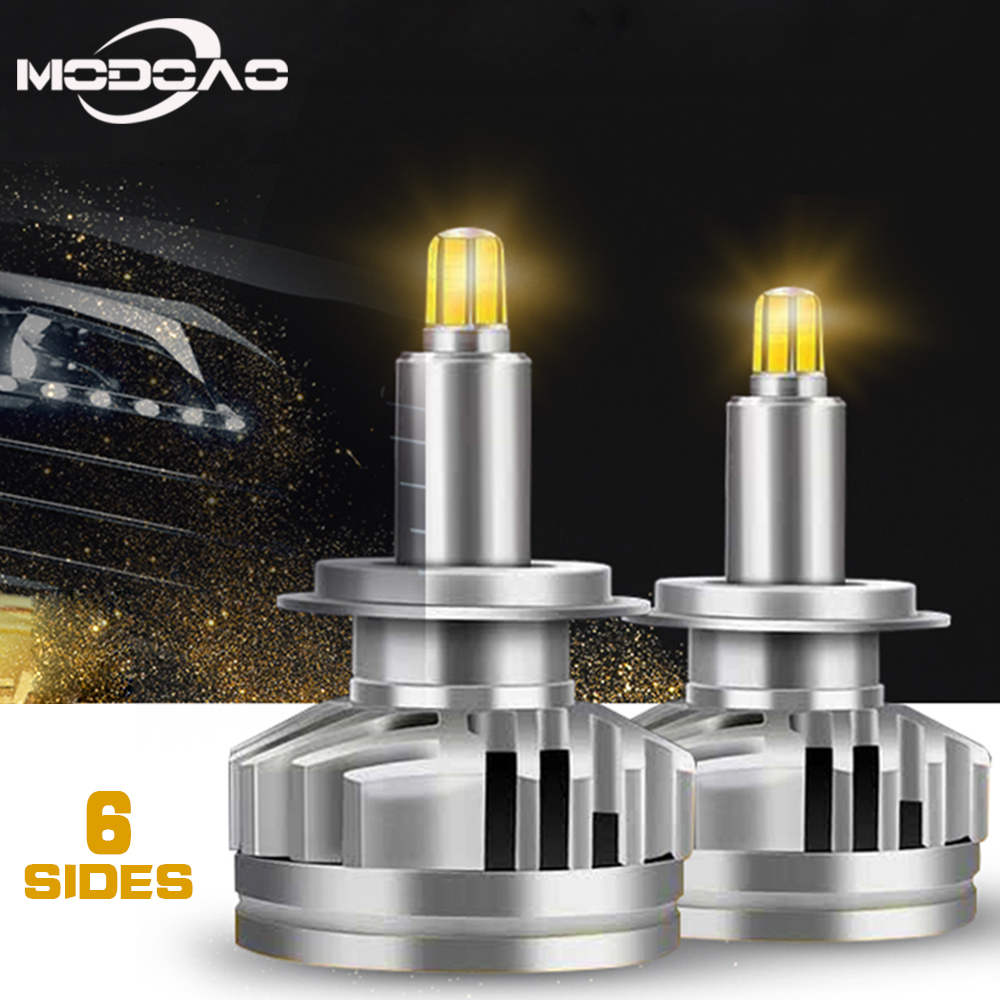 2 uds 18000LM H1 H7 LED Canbus H8 H11 HB3 9005 HB4 9006 6-lados 3D faros Led 100W bombillas de coche 360 grados 6000K