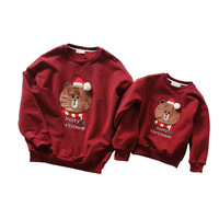 Family Matching Outfits 2018 Winter Christmas Sweater Cute Deer Children Clothing Kid T shirt Add Wool Warm Family Clothes