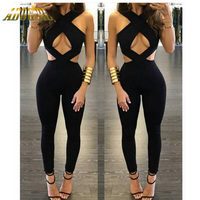 Adogirl Sexy Rompers Womens Jumpsuit Night Club Wear Black Women Full Length Overalls Sexy Playsuits Jumpsuits