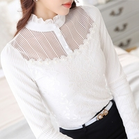 Spring White Blouse Chiffon Shirt Elegant Lace Embroidery Stand Collar Ruffles Puff Sleeve Slim Plus Size