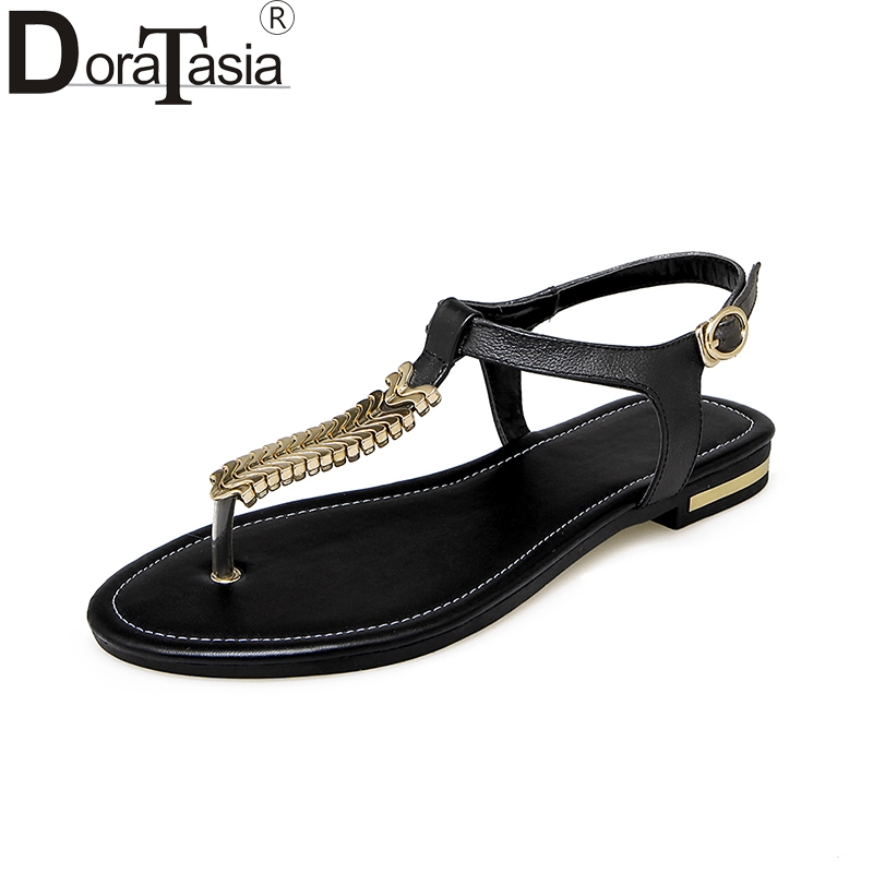 DoraTasia 2018 Wholesale Plus Size 31-46 Cow Genuine Leather Summer Sandals Women Fashion Low Heels Quality Casual Shoes Woman new women sandals low heel wedges summer casual single shoes woman sandal fashion soft sandals free shipping
