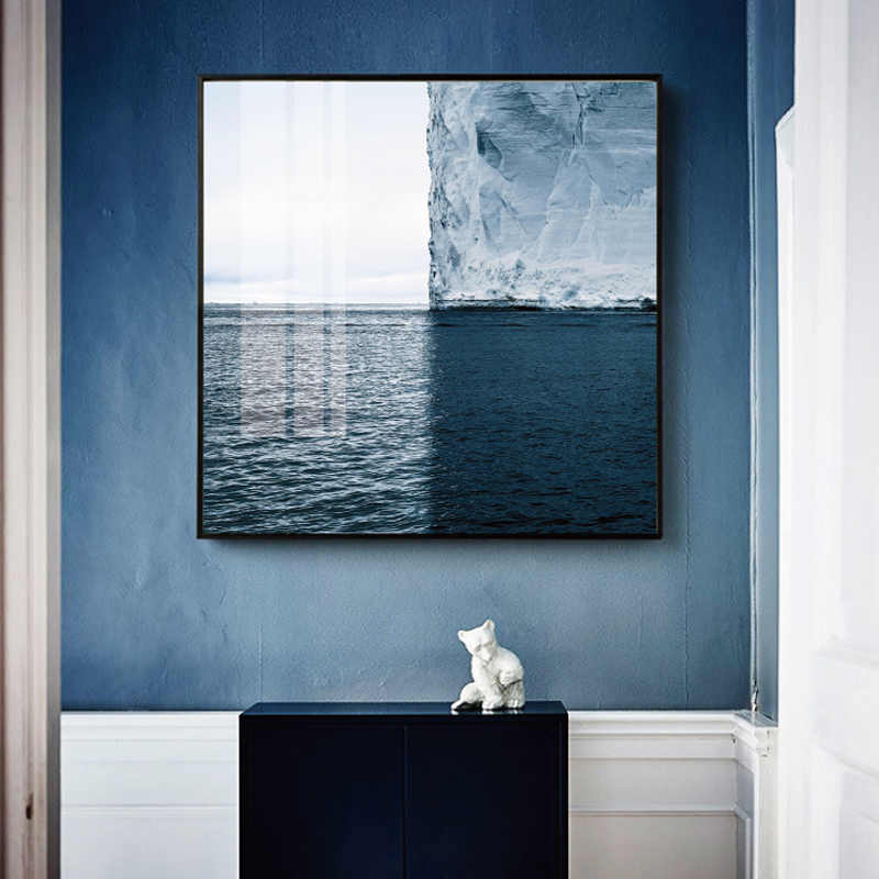 Nordic Minimalist Seascape Huge Iceberg Canvas poster Wall Art Picture landscape painting print home living room decoration