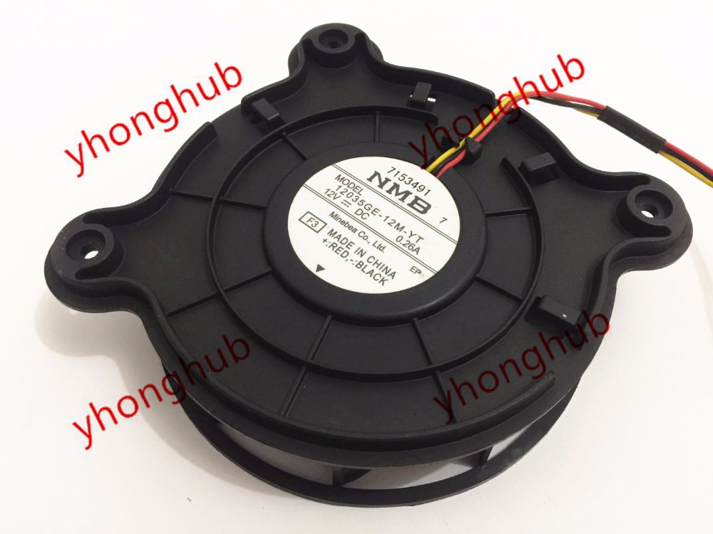NMB-MAT 12035GE-12M-YT F3 DC 12V 0.26A 3-wire Server Round Fan new original nmb 9cm9038 3615rl 05w b49 24v0 73a 92 92 38mm large volume inverter fan