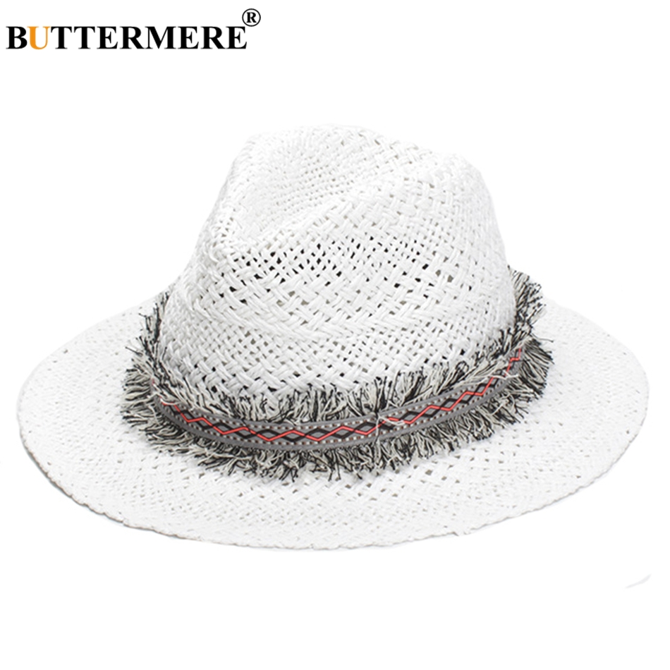 71d693be618 BUTTERMERE White Sun Hat Men Women Summer Casual Straw Fedora Hat With Tassel  Beach Designer Basic Vintage Jazz Hat Male-in Sun Hats from Men s Clothing  ...
