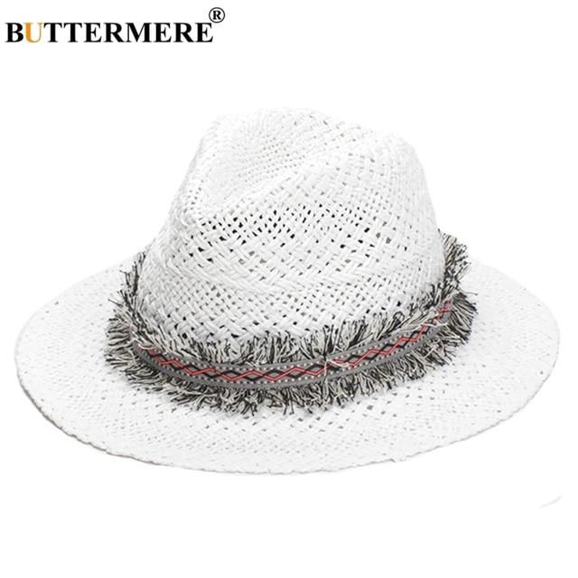 2c43c8b4d18dc6 BUTTERMERE White Sun Hat Men Women Summer Casual Straw Fedora Hat With  Tassel Beach Designer Basic Vintage Jazz Hat Male