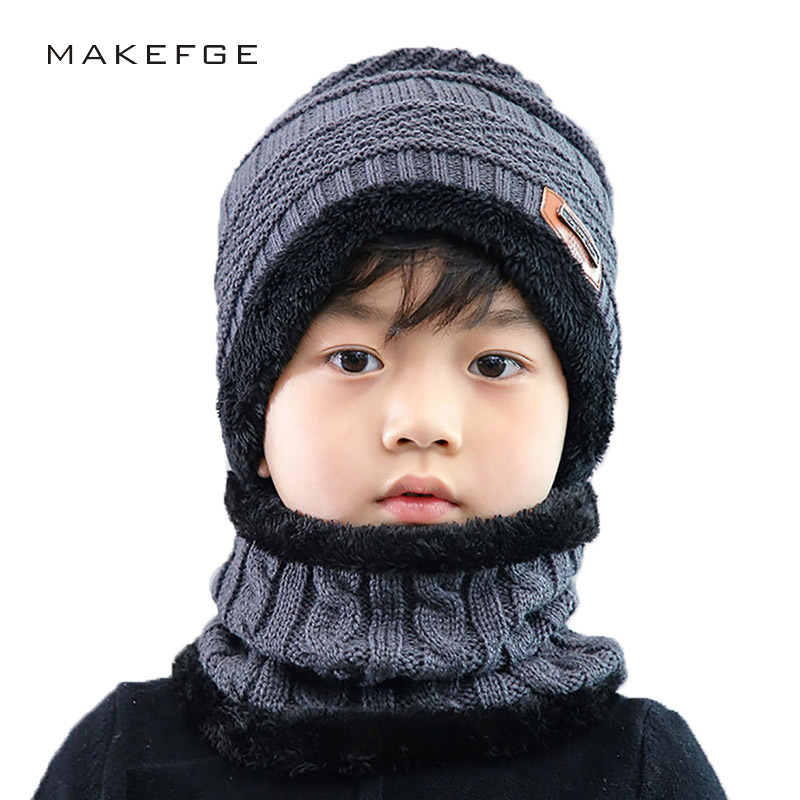 Autumn And Winter New Boy Knitted Cotton Caps Warm Beanies Velvet Thick Ski Mask Hats Scarf Girl's Warmth A Boy's Skullie Bone