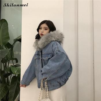 848dc399945 De piel de las mujeres con capucha chaquetas abrigos 2018 moda Denim azul  chaquetas mujeres Oversize flojo Otoño e Invierno chaqueta de lana abrigo  Mujer