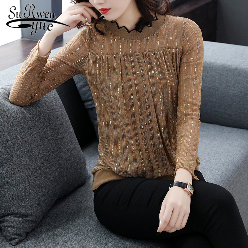2018 autumn woman Long sleeve lace new blouse fashion solid female shirts women s tops plus