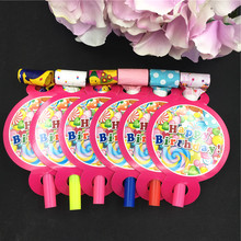 12PCS 13*8cm Candy balloon theme Blowout Noise Maker for kids candy birthday party decoration blow out