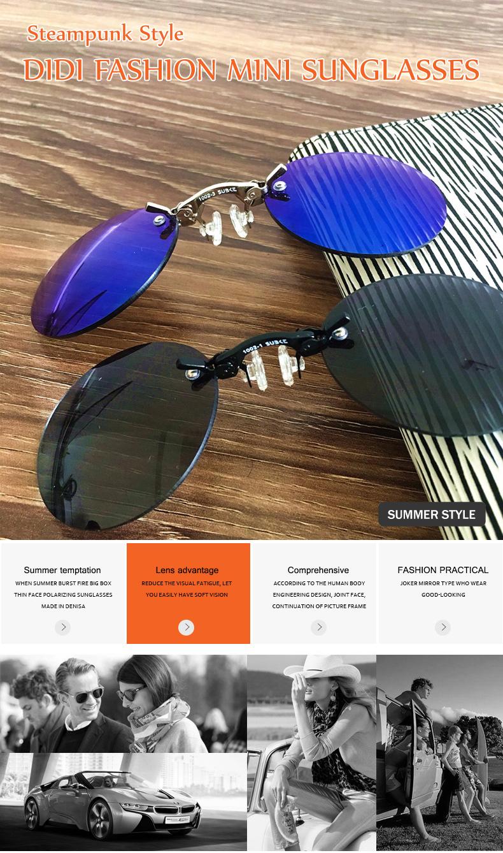 HTB1FhZMdbsTMeJjy1zbq6AhlVXaK - DIDI Small Round Clip On Nose Mini Sunglasses Men Brand Cool Steampunk Sun Glasses Women Vintage Metal Black Coating Gafas H689