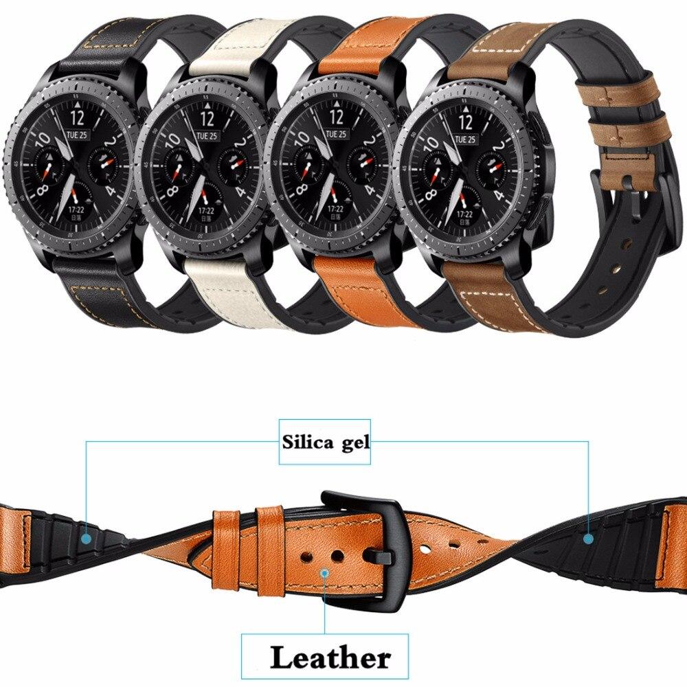 Leder + silikon sport strap für Samsung Getriebe S3 Frontier/Klassische Uhr 46mm ersatz armband 22mm band handgelenk armband gürtel