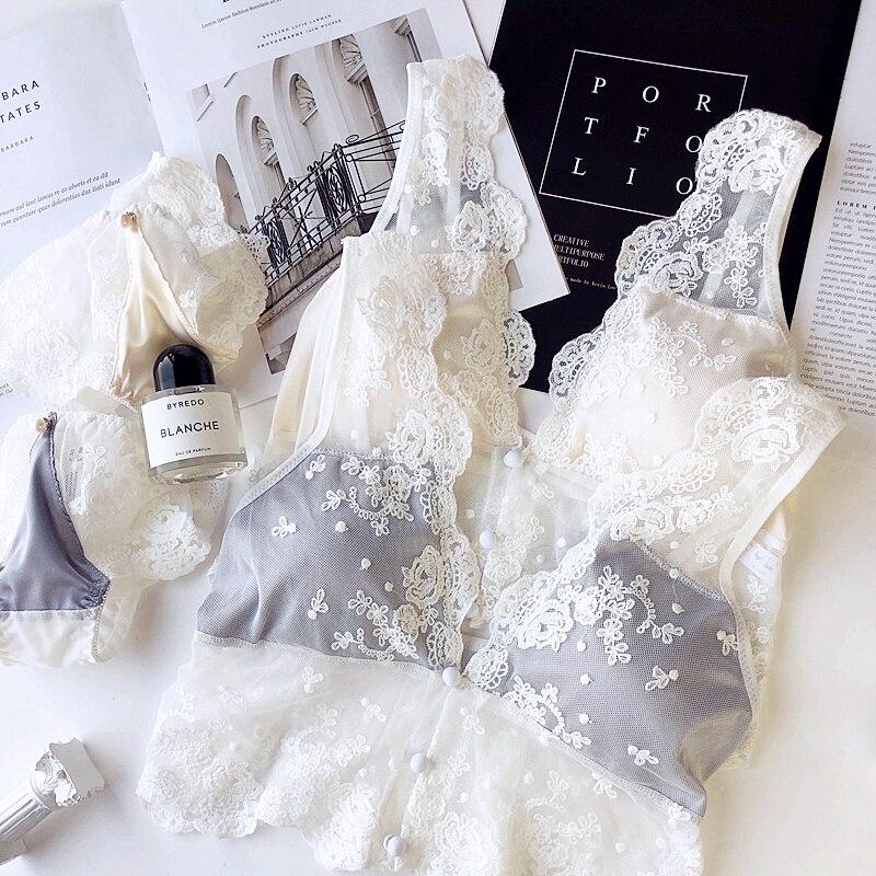 Wriufred Women Triangle Cup Brassiere Sexy Lace Gauze Bralette Embroidery Underwear   Bra     Set   Plus Size lingerie Panties   Sets