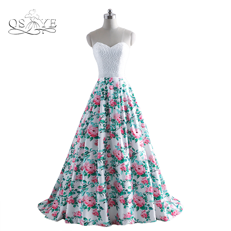 2017 New Fashion 3D Floral Print Long Prom Dresses Beading Sweetheart Flower Pattern Sweep Train Formal Evening Party Gown