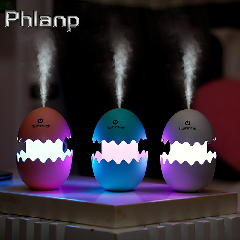 Phlanp 100ML USB Egg Ultrasonic Humidifier Mini air Humidifier Diffuser 5V Led light Car Air Freshener Home Office Air Purifier 5v led lighting usb mini air humidifier 250ml bottle included air diffuser purifier atomizer for desktop car