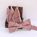 New Fashion Men's Handkerchieves Bow Tie Set Casual Cotton Plaid Men's Bow Ties and Pocket Squares Set for Business or Wedding
