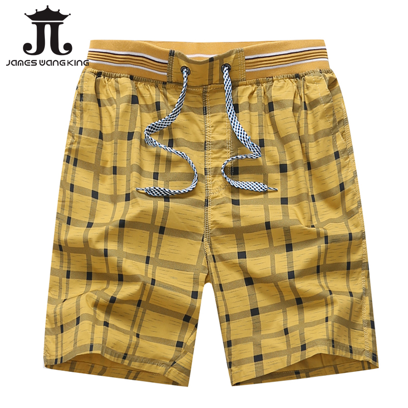 Plaid Shorts Bermuda Elastic Homme Plus-Size Summer 100%Cotton New Classic Mid 4-Color