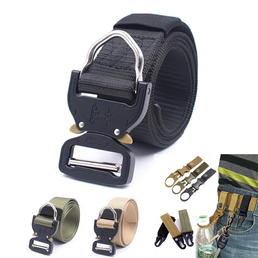 Outdoor Nylon Belt Tactical Military Army Metal Buckle Canvas Waistband Cowboy Jeans Sport Hunting Hiking Adjustable Belt