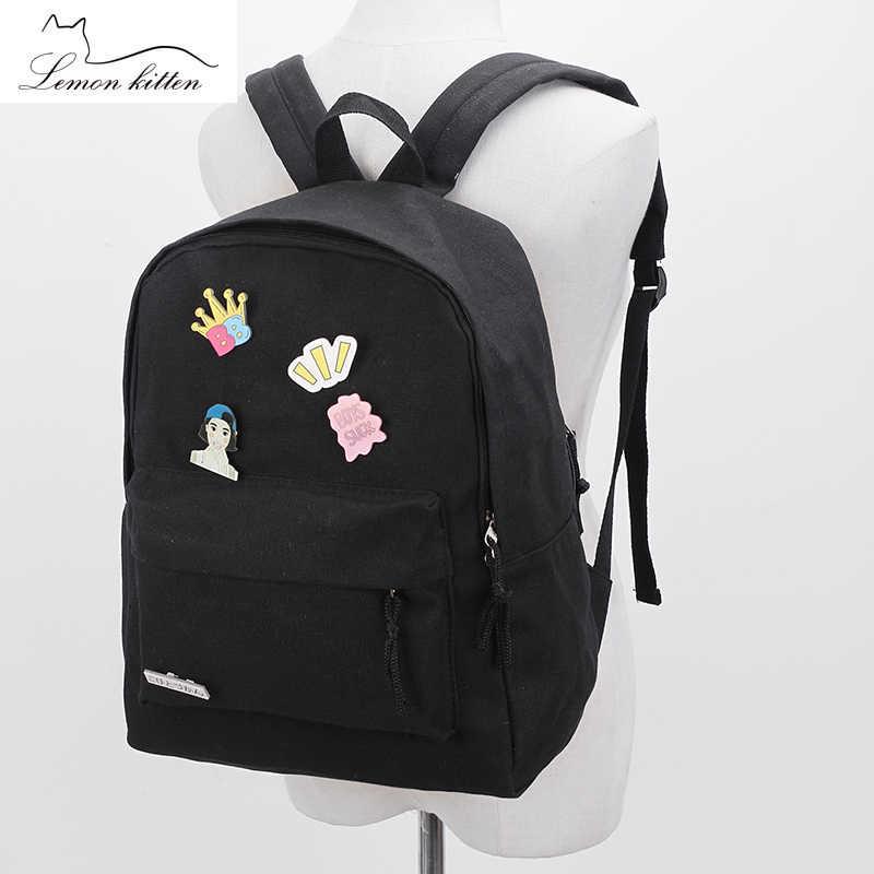 5132a1f9791 2018 Cute Badge Backpack Canvas Women Backpack Solid Student Girl Fashion  Personality Backpack Female Rucksack Mochila