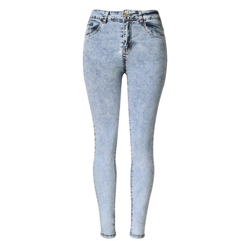2017 Nové vysoké pasové džíny dámské džínové kalhoty Hubené dámské džíny zúžené prané džínové kalhoty Femme Plus velikost 2XL 50