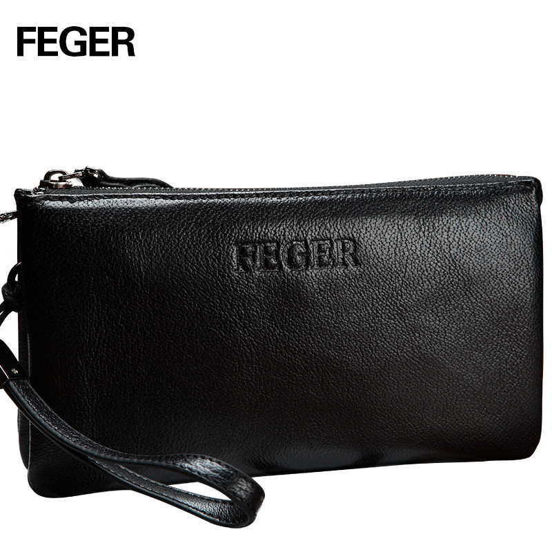 ФОТО FEGER Genuine Leather Men Small Business Bag Handy Wallet Functional Leather Clutch Bag Free Shipping