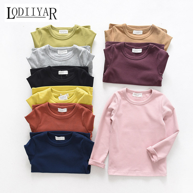 Cotton Long Sleeve Bottoming Shirts, Baby Boys Girls Pink Clothing Sugar Top Tees, Korean Solid Kid T-shirt, Autumn Spring Shirt