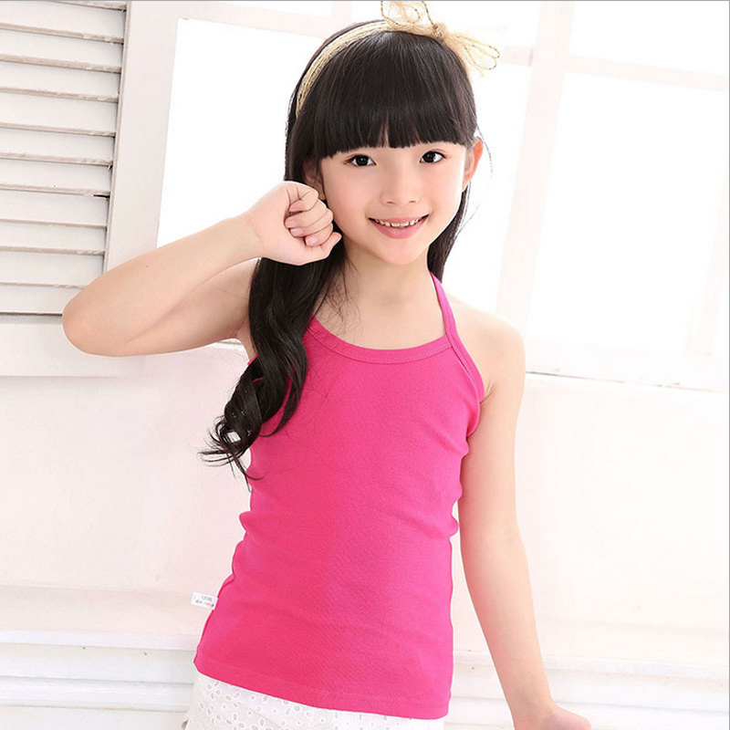 Girls camisole cotton vest child tank girl underwear solid candy color girls tank tops kids clothing summer beach T-shirt 1-12T girl