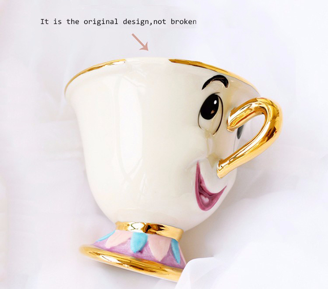 Genuine Cartoon Beauty And The Beast Mug Tea Set Mrs Potts Teapot Chip Cup Pot Set Coffee Cup Valentine's Day Xmas Gift