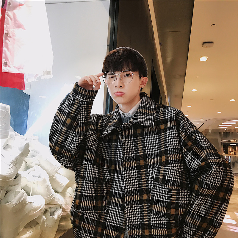 2018 Autumn And Winter New Color Plaid Coat Jaket Men Overcoat Preppy Style Smart Casual M 2XL