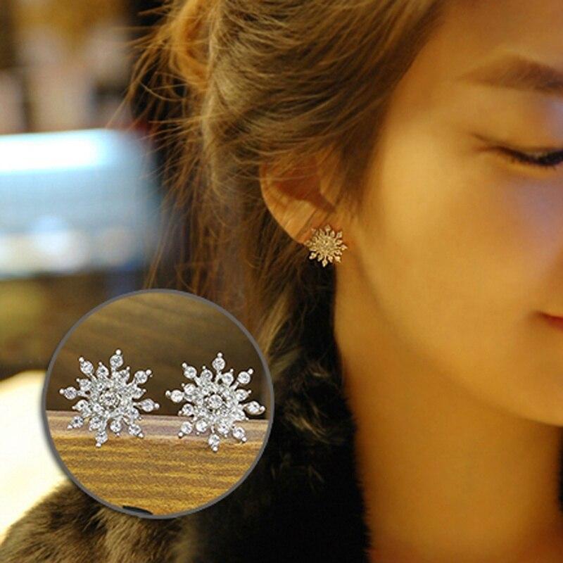 Ювелирные изделия, серебряная шпилька Снежинка серьги модные женские туфли Голд Кристалл
