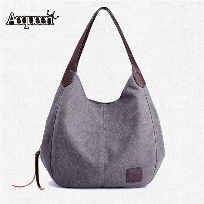 Canvas Bag Solid Handbags Hobos Single Shoulder Bags Vintage Ladies Totes Large Bag Women's Bolsas Feminina