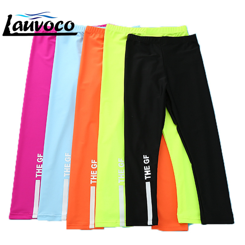 2018 New Kids Swimwear Waterproof Long Pants Surfing Clothes Rashguard Swimming Pants for Girls Boys Sunscreen Swim Bottom Red in Two Piece Separates from Sports Entertainment
