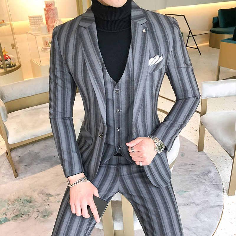 3 stück Männer Anzug Mode 2019 Plus Größe Herbst Hochzeit Anzüge Für Männer Slim Fit Casual Bräutigam Smoking Junge Mann formale Tragen 5XL-S Heißer